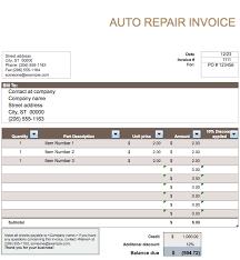 Automotive Invoice Template Auto Repair Invoice Template Free Free
