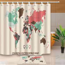colorful world map pattern bathroom shower curtain set fabric hook 71