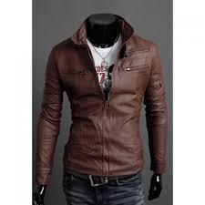 whole korean style stand collar multi zipper embellished pu leather men s jacket in deep brown xl trendsgal com