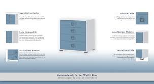 Kommode 06 Farbe Weiß Blau Abmessungen 89 X 84 X 56 Cm H X B X T