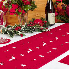 reindeer felt table runner  red  trade  wholesale party