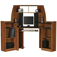solid wood corner computer desk with double storage in brown color ideas