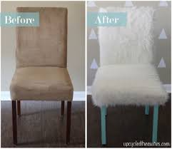love this whimsical faux fur office chair makeover from l wood treasures diy home decor craft wedding ideas