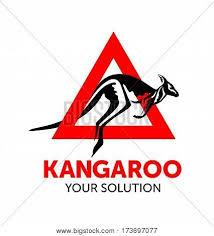 kangaroo jumps out of the red triangle vector kangaroo