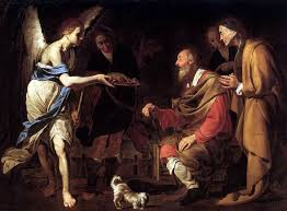 st raphael helping to cure tobit s blindness with a fish