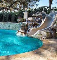 custom design pools. custom swimming pool in ridgeview place with natural rock built slide and artificial design pools