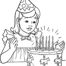 Small Picture A Little Girl Holding a Happy Birthday Cake Coloring Page Color Luna