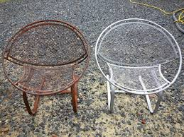 soda blasting before and after. before and after- baking soda blasting rusty chairs- maryland after