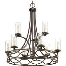 9 lt antique bronze chandelier