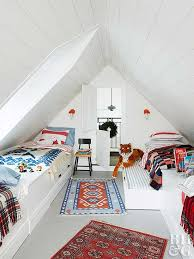 Decorating a small bedroom can get extra tricky with odd nooks and corners.  Use light, crisp colors to combat unique features like lower ceilings.