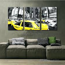 white wall art decor large black and white new city print yellow cab taxi hour times