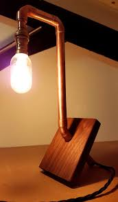 diy pipe lighting. Hand Made Copper Pipe And Walnut Lamp Diy Lighting