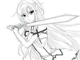 Coloring Pages To Print Cute For Kids Free Online Unicorn Anime Girl
