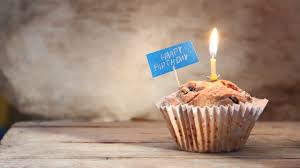 Happy Birthday Text Cupcakes With A Candles Stock Video Footage