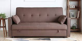 porto three seater sofa bed with storage in light brown colour