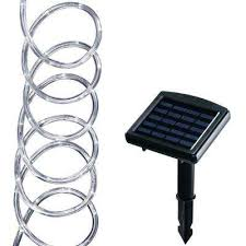 solar powered 16 ft clear outdoor integrated led 5000k warm white landscape rope light with