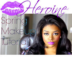 spring makeup tutorial with a bold purple pout