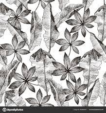 Tropic Planten Bloemen Naadloze Jungle Patroon Vector Achtergrond