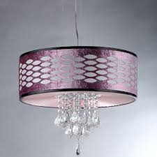 warehouse of pattern crystal 5 light chrome chandelier with purple shade