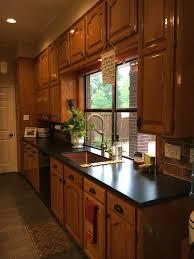 Updated Kitchen With New White Island Original Honey Oak Cabinets