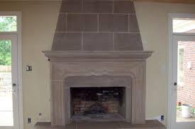 in limestone fireplace