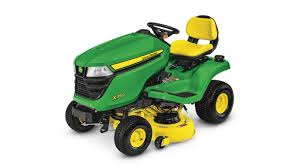 three quarter view of x350 lawn tractor with 42 inch deck
