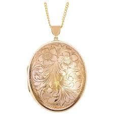 vintage 9 carat gold large oval locket for