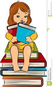 Petite Fille De Dessin Anim Avec Le Livre Illustration De Vecteur