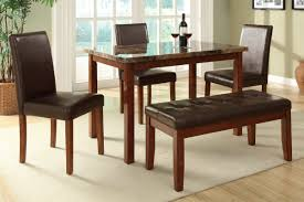 Traditional Brown Oak Wood Dining Table With Vertical Ladder Bench Seating For Dining Table