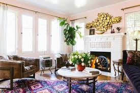 pink and brown boho living room tissue pink walls with glossy white ceiling