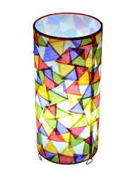 shoji table lamp cylindrical table lamp shades with triangular cut paper shoji style table lamp