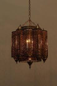 brass moroccan mosque chandelier in the style of alberto pinto for 4