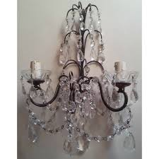 pair of antique italian crystal wall sconces with blue green and pertaining to proportions 1200 x