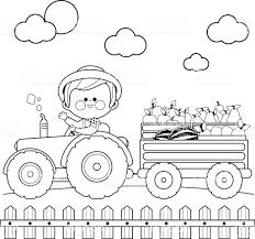 Landbouwer In De Boerderij Een Trekker Rijden En Vruchten Dragen