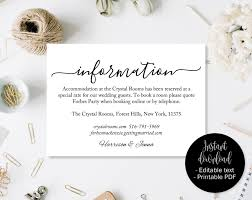 Directions Template Wedding Guest Details Template Wedding Guest Accommodation