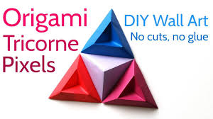 origami tricorne pixels to make stunning diy paper wall art on 3d paper wall art tutorial with origami tricorne pixels to make stunning diy paper wall art papier