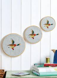 embroidered flying ducks wall hanging free sewing patterns sew