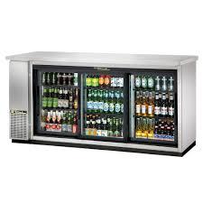 true tbb 24 72g sd s hc ld 72 3 section bar refrigerator sliding glass doors 115v