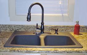 Black Granite Kitchen Sink with Bronze Faucet