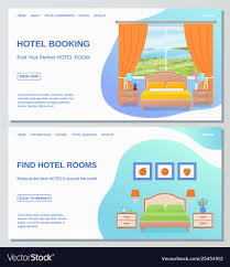 Page Design Templates Hotel Room Web Page Design Template Flat Bedroom
