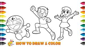 G a la la la. How To Draw And Color Doraemon With Shizuka And Nobita Doraemon Coloring Pages Youtube