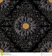 Zwart 3d Bloemen Naadloos Patroon Vector Donkere Zwarte Achtergrond