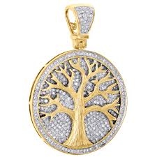 10k yellow gold diamond tree of life medallion pendant 1 80 pave charm 1 32 ct com