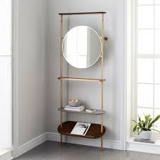 Coat Rack With Mirror Modern Entryway Mirror Coat Rack West Elm 4