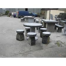limestone round table seating