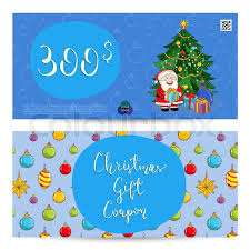 Christmas Gift Coupon Christmas Gift Voucher Template Gift Stock Vector