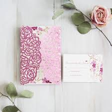 pink spring floral wedding invitations with glittery backers