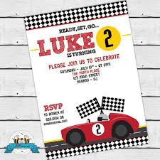 Car Birthday Invitations Vintage Red Racing Car Birthday Party Invitation