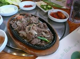 of finding table space that is synonymous with a korean barbecue feast the bulgogi was marinated