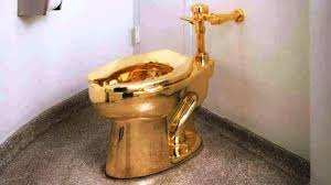 gold toilet. starting friday, it can be used as if an ordinary unisex toilet by the museum\u0027s gold